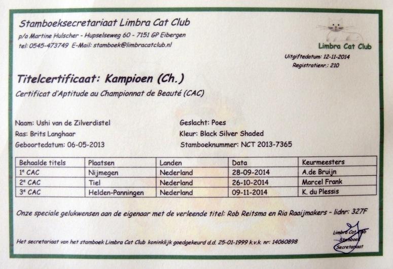 Champion Certificaat Ushi, 2014-11-14
