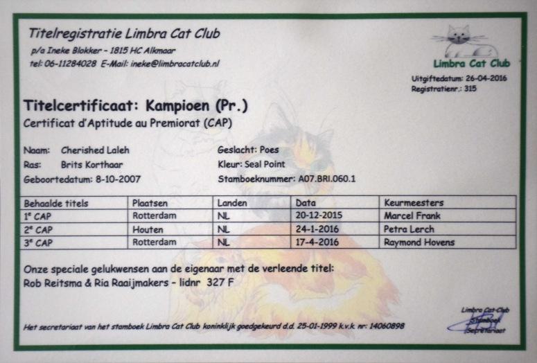 Champion Premior Certificaat Laleh, 2016-04-29